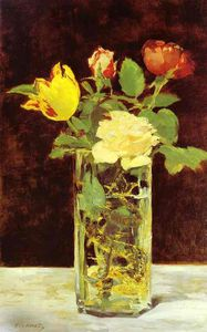 Roses and Tulips in a Vase