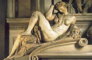 Tomb of Giuliano de - Medici detail Night