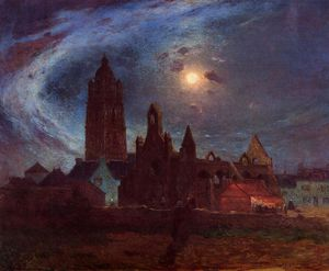 The Bourg-de-Batz Church under the Moon
