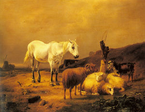 A Horse, Sheep and a Goat in a Landscape