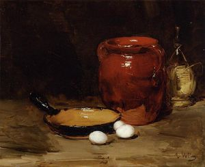 Still Life with a Pen, Jug, Bottle and Eggs on a Table