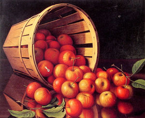 Apples tumbling from a basket