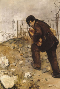 Man with two loaves of bread