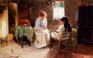 Two girls in an interior winding a skein of wool