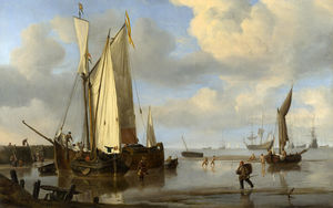 Dutch Vessels Inshore and Men Bathing