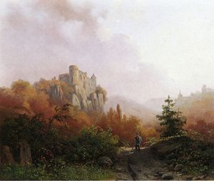 Summer - A Peasant on a Rocky Path - a Ruin in the Background