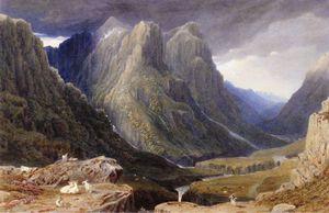 Goats on a Rocky Outcrop above a Highland Glen