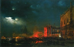 Night Festival on the Molo di San Marco upon the Feast Day o....ssimiliano d-Asborgo