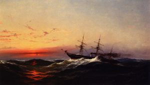 Sunset on a Rough Sea