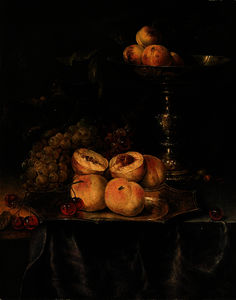 Peaches and cherries on a silver-gilt plate, red and white grapes, peaches on a silver-gilt tazza and an acorn on a partly draped table