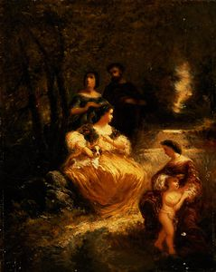 Figures by a stream in a woodland glen