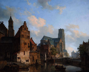 Delftse Vaart and the St Laurens church in Rotterdam