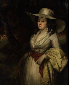 Портрет дамы , three-quarter-length , в белом платье и солома шляпа