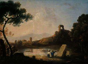 Lake Avernus with a Sarcophagus