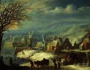Winter landscape with numerous figures