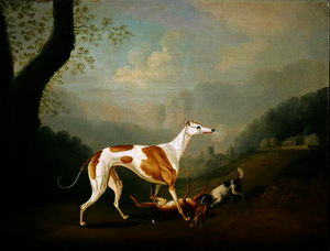 Greyhound with a Spaniel Puppy and Dead Hare