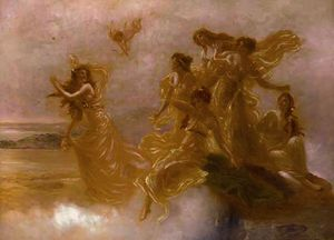 Goddesses dancing on mount olympus