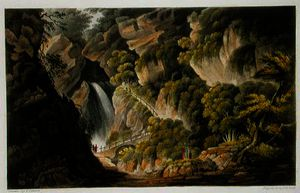 Waterfall at Shanklin, from 'The Isle of Wight Illustrated, in a Series of Coloured Views', engraved