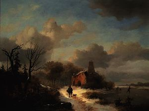Winter landscape with peasant and figures on ice