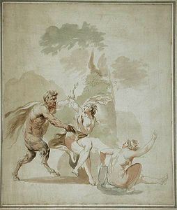 Satyr attacking two nude bathers