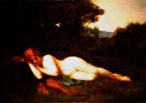 Nude lying down