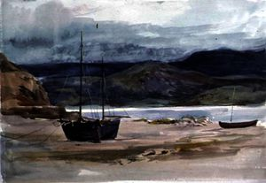 Hilly coast scene with boats,