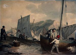 Fishing boats unloading