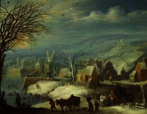 Winter landscape with numerous figures (panel