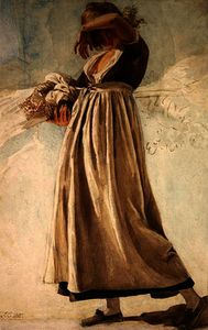 A peasant girl shading her eyes,
