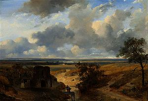 Figures in a panoramic summer landscape