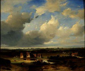 The ruins of brederode in the kennemerland from het kopje in bloemendaal