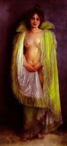 Femme en deshabille vert