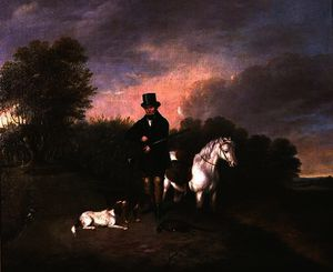 Sportsman with dogs and game