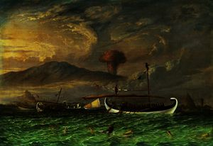 Volcano and fishing proas near Passoeroean