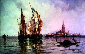 Fishing boats near San Giorgio Maggiore, Venice