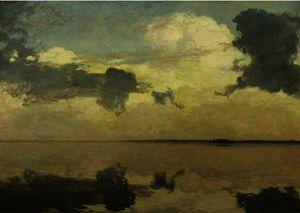 Clouds over a calm lake