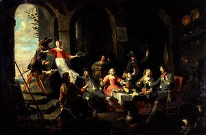 Elegant Company Merrymaking in an Interior with Servants in Attendance
