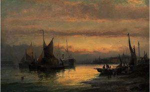 Unloading the day's catch at dusk; and hay barges and a steamer anchored off the beach at dusk