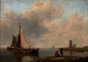 Barges in a calm off the dutch coast