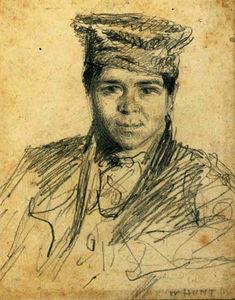 Portrait of a boy, bust-length, wearing a hat