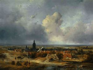 Summer in holland - a panoramic view of a village in the dunes