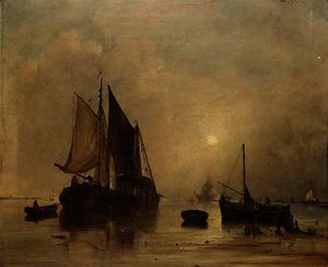 Hay barges at dusk on a dutch river estuary with a man-o'war firing the evening gun beyond