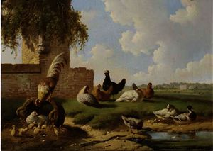 Poultry by a ruin, a country house in the distance
