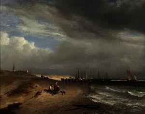 Le cifre sulla spiaggia di Scheveningen a guardare il ritorno della flotta da pesca