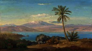 The sicilian coast with mount etna in the distance