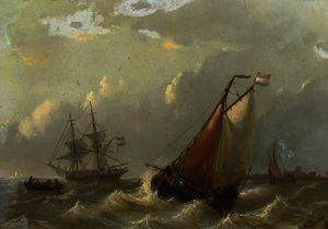 Dutch vessels on choppy waters by a coast