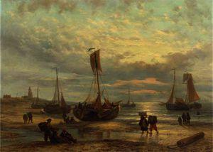Fishing vessels on the beach at sunset, scheveningen