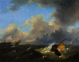 Shipping on a choppy sea by a coast