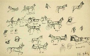 Sketch with horses and a jockey