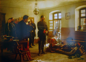 German crown Prince Friedrich Wilhelm contemplating the corpse of French general Abel Douay, Franco-Prussian War, (1870)